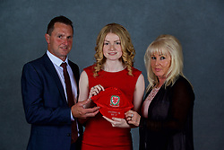 NEWPORT, WALES - Saturday, May 19, 2018: Lucy Attwood and family during the Football Association of Wales Under-16's Caps Presentation at the Celtic Manor Resort. (Pic by David Rawcliffe/Propaganda)