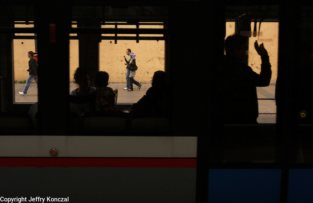 A view of people walking along the sidewalk in Istanbul, Turkey