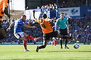 Portsmouth's Ben Davies gets a shot on target during the Sky Bet League 2 match between Portsmouth and Barnet at Fratton Park, Portsmouth, England on 12 September 2015. Photo by David Charbit.