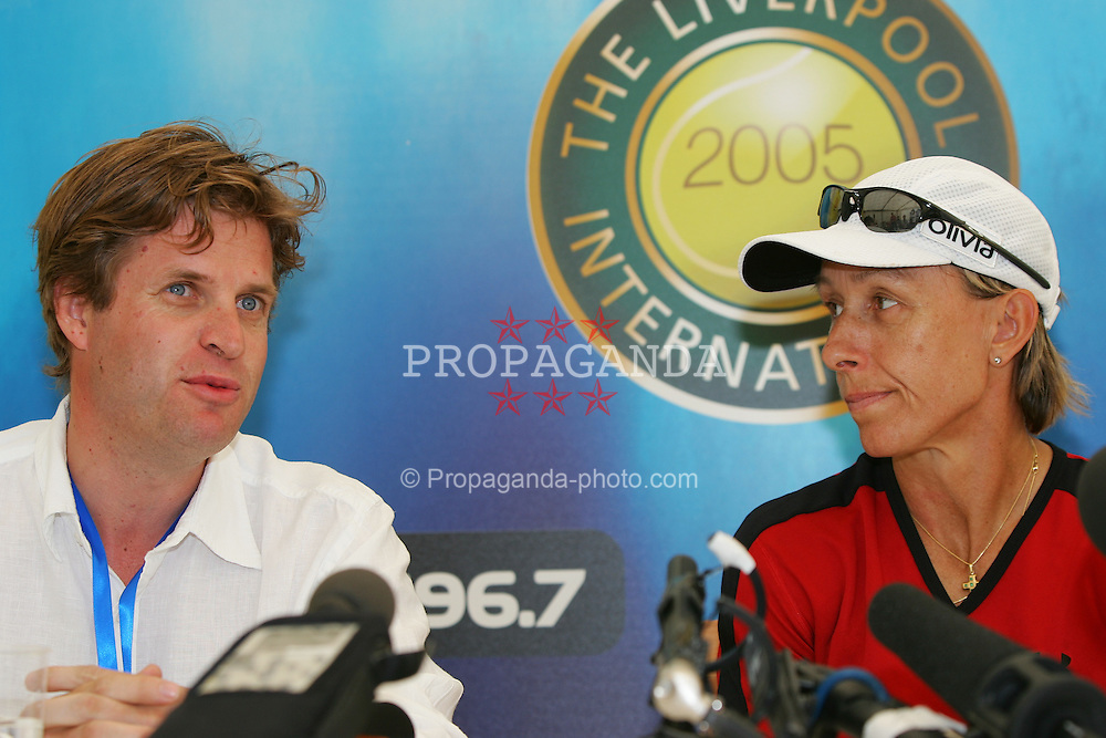 LIVERPOOL, ENGLAND - WEDNESDAY, JUNE 8th, 2005 Tournament Director Anders Borg with: Martina Navratilova at a press conference following her Mixed Doubles victory at the Liverbird Developments Liverpool International Tennis Tournament in Calderstones Park. (Pic by David Rawcliffe/Propaganda)