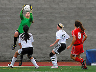 1 MAY 2010 -- O'FALLON, MO. -- Ursuline Academy girls' soccer goalie Courtney Vonder Haar (CQ) stops a shot on goal from Francis Howell North during the championship game of the 19th Annual St. Dominic / Howell North Shootout Saturday, May 1, 2010 at St. Dominic High School in O'Fallon, Mo. Ursuline beat Howell North 2-1. Photo © copyright 2010 by Sid Hastings.