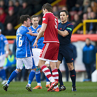 Aberdeen v St Johnstone…27.02.16   SPFL   Pittodrie, Aberdeen<br />Ref Steven McLean separates Danny Swanson and Ash Taylor after an incident between Swanson and Ryan Jack<br />Picture by Graeme Hart.<br />Copyright Perthshire Picture Agency<br />Tel: 01738 623350  Mobile: 07990 594431