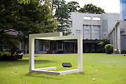 Sol Lewitt's Incomplete Cube stands in the gardens of the Hara Museum of Contemporary Art in, Tokyo, Japan on 18 Sept. 2012. Photographer: Robert Gilhooly