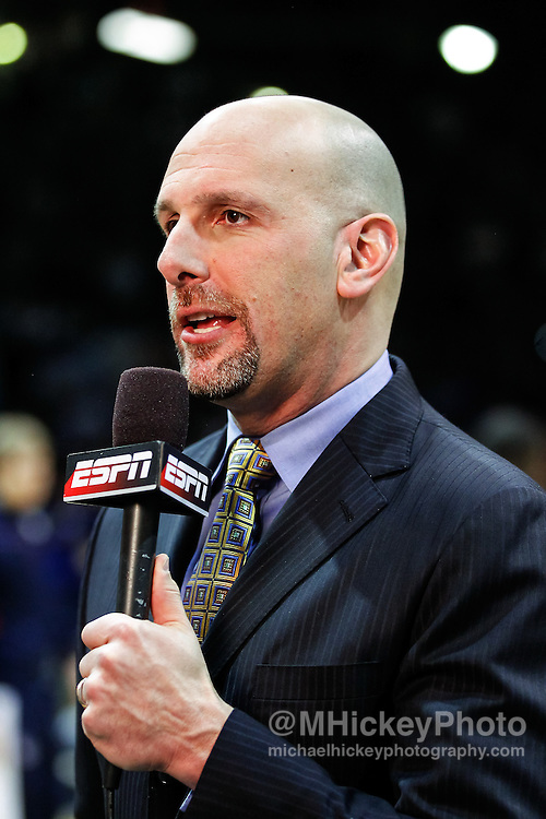 INDIANAPOLIS, IN - JANUARY 19: ESPN broadcaster Dan Shulman seen before the game between Butler Bulldogs and Gonzaga Bulldogs at Hinkle Fieldhouse on January 19, 2013 in Indianapolis, Indiana. Butler defeated Gonzaga 64-63. (Photo by Michael Hickey/Getty Images) *** Local Caption *** Dan Shulman