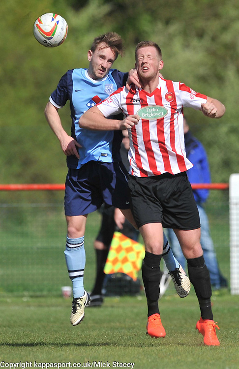 FLEET NICK HUTCHINS HOLDS OF KEMPSTON JAKE NEWMAN, Kempston Rovers v Fleet Town, Evostick Southern League Central Saturday 15th April 2017. Score 3-1. Photo:Mike Capps