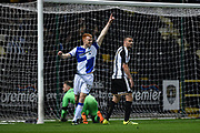 Bristol Rovers forward Rory Gaffney (30) celebrates after Bristol Rovers midfielder Stuart Sinclair (24) scores to makes it 0-2 during the The FA Cup match between Notts County and Bristol Rovers at Meadow Lane, Nottingham, England on 3 November 2017. Photo by Jon Hobley.