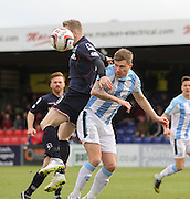 Dundee's Willie Dyer heads clear while under pressure from Ross County's Michael Gardyne - Ross County v Dundee, SPFL Premiership at The Global Energy Stadium<br /> <br />  - &copy; David Young - www.davidyoungphoto.co.uk - email: davidyoungphoto@gmail.com
