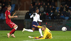 England U21's Demarai Gray scores his side's first goal of the game during the international friendly match at the Blue Water Arena, Esbjerg.