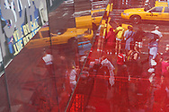 New York , mirror game on Broadway. Times square area.  -
