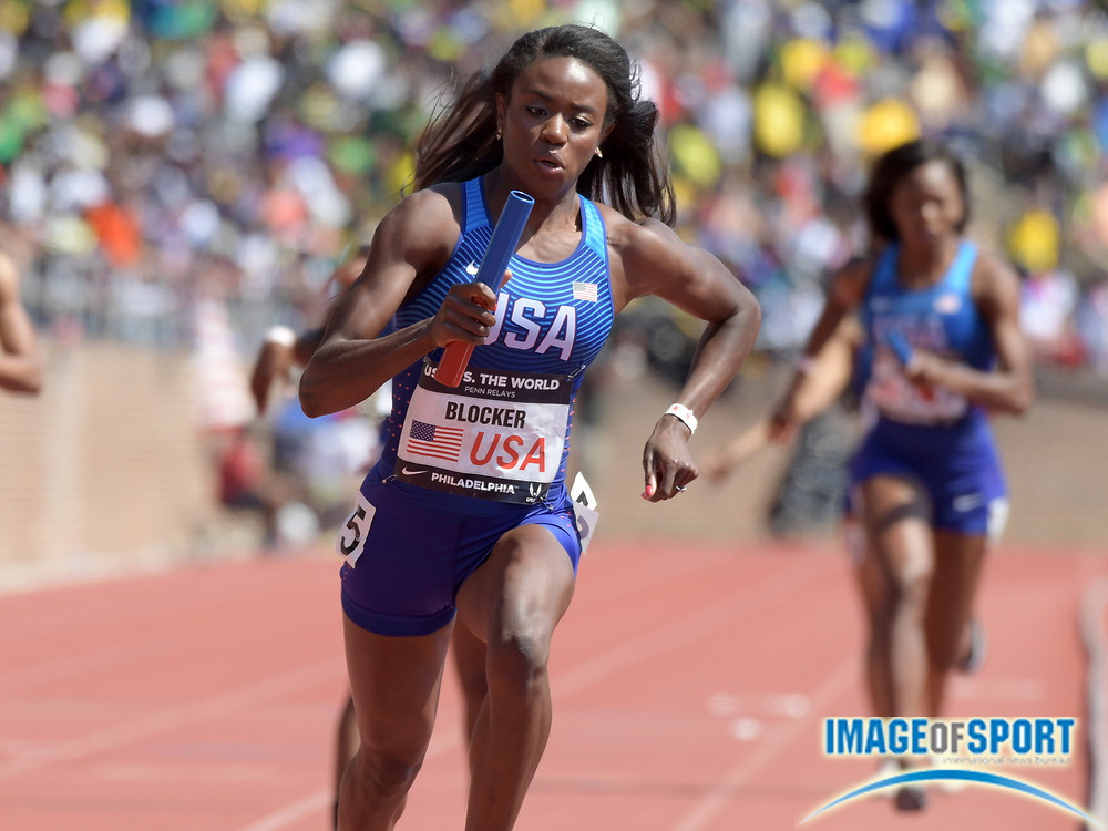 Apr 28, 2018; Philadelphia, PA, USA; Jasmine Blocker runs the second leg on the USA Red women's 4 x 400m relay that won the USA vs. The World race in 3:26.73 during the 124th Penn Relays at Franklin Field.