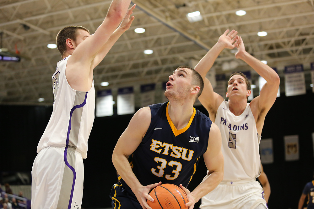 January 18, 2018 - Greenville, South Carolina - Timmons Arena: ETSU forward Mladen Armus (33)<br />