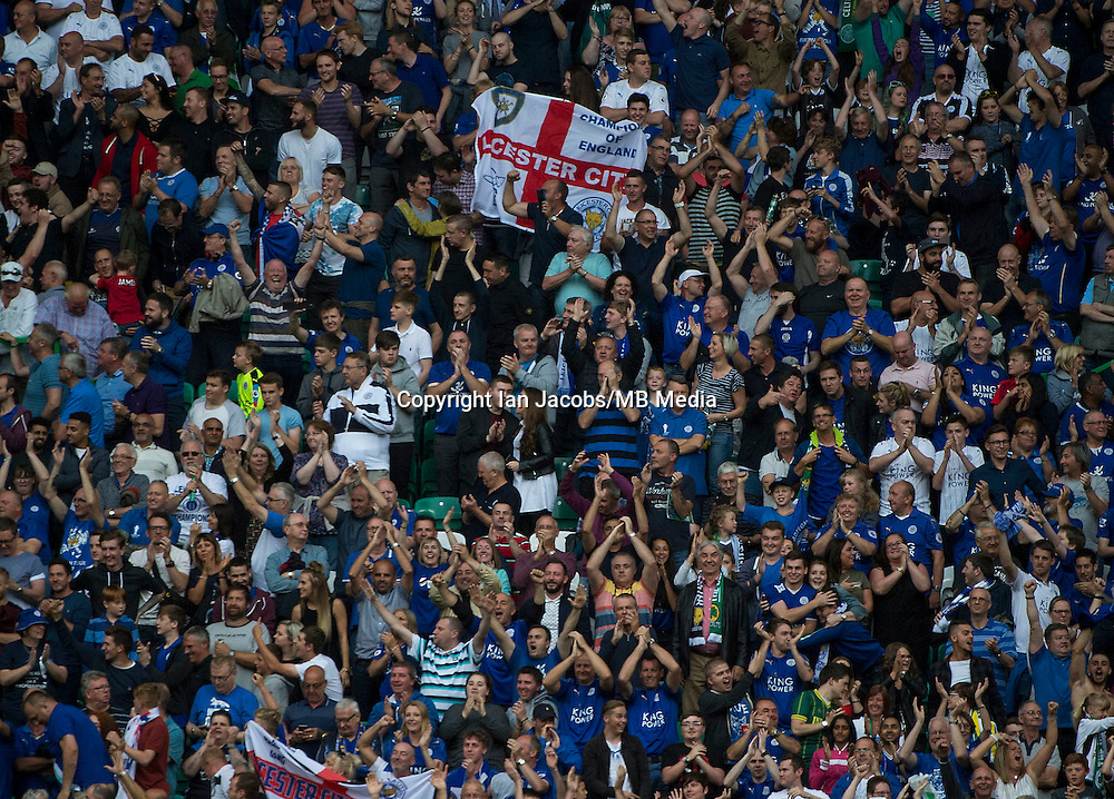 Football, International Champions Cup, Parkhead Stadium, Glasgow. Celtic v Leicester City. Leicester win 6-5 on penalties<br /> Pic shows: Leicester fans celebrate.