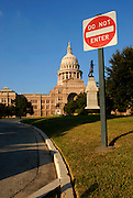 A warning sign at the Texas State Capitol becomes a commentary on the state of democracy and openess of government, November 4, 2007.