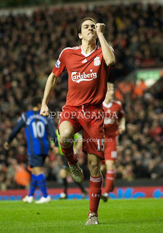 LIVERPOOL, ENGLAND - Tuesday, March 3, 2009: Liverpool's Yossi Benayoun celebrates scoring his side's second goal against Sunderland during the Premiership match at Anfield. (Photo by David Rawcliffe/Propaganda)