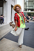 Street fashion spotted in and around the New York Fashion Week venues on September 8, 2012. Here, Project Runway contestant Kooan Kosuke in a Prada jacket...CREDIT: Daniella Zalcman for The Wall Street Journal.