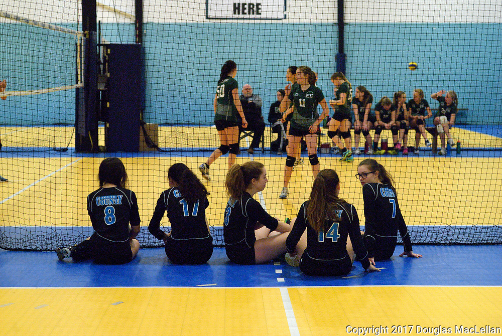 CANADA, London. 25 March 2017. South County Bandits U15 Black volleyball team play in the quarter finals of the Ontario Volleyball Association Bugarski Cup Trillium Division tournament in the afternoon at Supreme Courts in London. The team wins to move to the semi finals.