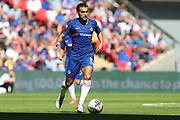Chelsea attacker Pedro (11) dribbling during the FA Community Shield match between Chelsea and Manchester City at Wembley Stadium, London, England on 5 August 2018.