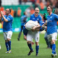 St Johnstone v Dundee United....17.05.14   William Hill Scottish Cup Final<br /> Steven Anderson and Gary McDonald celebrate trying not to drop Steven MacLean<br /> Picture by Graeme Hart.<br /> Copyright Perthshire Picture Agency<br /> Tel: 01738 623350  Mobile: 07990 594431
