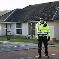 Agnieszka Szefler Murder, Bridge of Earn, Perth....24.01.15<br /> Officers from Police Scotland at the scene of the suspicious death in Horsemill Place, Bridge of Earn. A 56 year old man Mohammed Ali Abboud has gone on trial at the High Court in Edinburgh charged with the murder of 27 year old Agnieszka Szefler.<br /> Picture by Graeme Hart.<br /> Copyright Perthshire Picture Agency<br /> Tel: 01738 623350  Mobile: 07990 594431