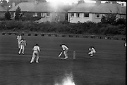 Ireland v. Leicester, Cricket at Sydney Parade..1963..07.07.1963..7th July 1963.  .Today Ireland played Leicester at cricket in the Pembroke Cricket Club grounds at Sydney Parade, Ballsbridge ,Dublin...Ireland's opening bat, Stanley Bergin, is pictured playing a defensive shot during the match at Sydney Parade.