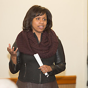 Boston City Councilor Ayanna Pressley attends a meeting regarding a new Mission Hill building development project at The Mission Church on January 22, 2015 in Boston, Massachusetts. (Photo by Elan Kawesch/The Times of Israel)