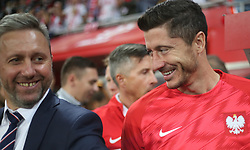September 11, 2018 - Warsaw, Poland - Robert Lewandowski and Jerzy Brzeczek (L) of Poland in action during the international friendly match between Poland and Republic of Ireland at the Stadion Miejski on September 11, 2018 in Wroclaw, Poland. (Credit Image: © Foto Olimpik/NurPhoto/ZUMA Press)