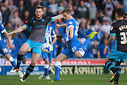 Brighton striker James Wilson shoots for goal during the Sky Bet Championship play-off second leg match between Brighton and Hove Albion and Sheffield Wednesday at the American Express Community Stadium, Brighton and Hove, England on 16 May 2016. Photo by Bennett Dean.