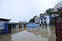 August 12, 2017 - Kathmandu, NP, Nepal - A building premises of Kathmandu University (KU) water logged due to the heavy rainfall at Patan, Nepal on Saturday, August 12, 2016. (Credit Image: © Narayan Maharjan/NurPhoto via ZUMA Press)