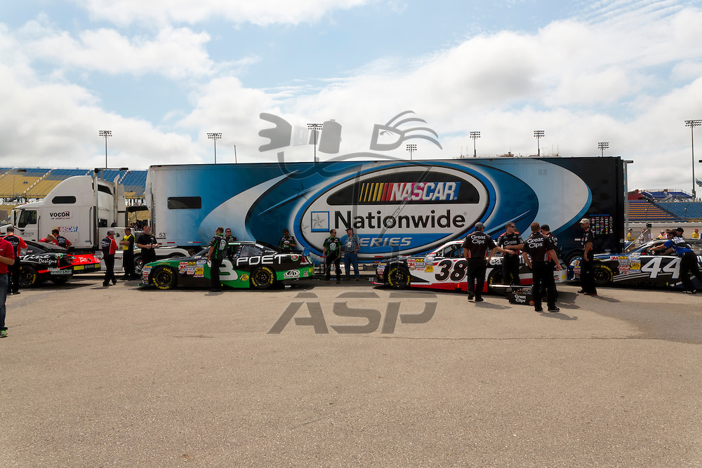 NEWTON, IA - AUG 04, 2012:  The NASCAR Nationwide Series teams qualify for the U.S. Cellular 250 at the Iowa Speedway in Newton, IA.