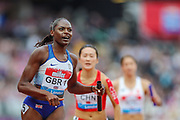 Daryll NEITA  of Great Britain & NI dips as she crosses the finish line in the Women's 4x100m Relay during the Muller Anniversary Games 2019 at the London Stadium, London, England on 20 July 2019.