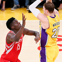 26 October 2016: Houston Rockets center Clint Capela (15) defends on Los Angeles Lakers center Timofey Mozgov (20) during the Los Angeles Lakers 120-114 victory over the Houston Rockets, at the Staples Center, Los Angeles, California, USA.