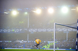 LIVERPOOL, ENGLAND - Saturday, January 23, 2010: Birmingham City's goalkeeper Joe Hart takes a goal-kick during the FA Cup 4th Round match against Everton at Goodison Park. (Photo by: David Rawcliffe/Propaganda)