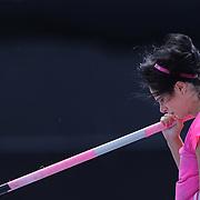 Jenn Suhr, USA, during warm up before the Women's Pole Vault competition at the Diamond League Adidas Grand Prix at Icahn Stadium, Randall's Island, Manhattan, New York, USA. 14th June 2014. Photo Tim Clayton