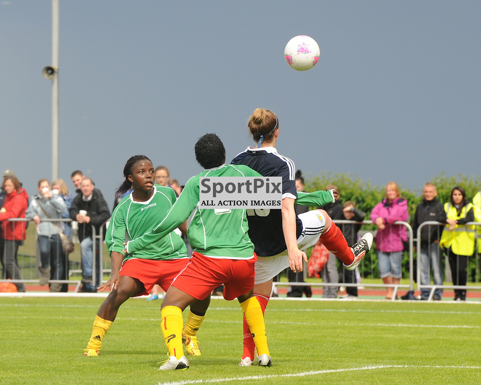 Suzanne Lappin (10) is held by Christine Patience Manie (2)  during the Cameroon vs Scotland in pre Olympic warm up match. 15th July 2012.