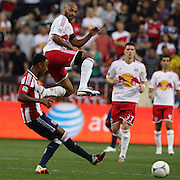 Red Bulls Thierry Henry attempts to block a pass from James Riley, Chivas USA,  during the New York Red Bulls V Chivas USA Major League Soccer match at Red Bull Arena, Harrison, New Jersey, 23rd May 2012. Photo Tim Clayton