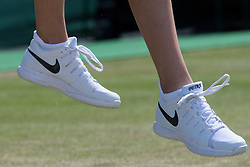 LONDON, ENGLAND - Saturday, July 2, 2016:  Petra Kvitova (CZE) shoes during the Ladies' Single 3rd Round match on day six of the Wimbledon Lawn Tennis Championships at the All England Lawn Tennis and Croquet Club. (Pic by Kirsten Holst/Propaganda)