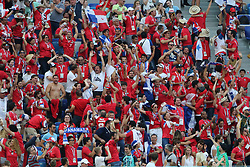 June 24, 2018 - Nizhny Novgorod, Russia - June 24, 2018, Russia, Nizhny Novgorod, FIFA World Cup 2018, First round, Group, Second round. Football match of England - Panama at the stadium Nizhny Novgorod. Champions; fans; fans; from England; The English; spectators. (Credit Image: © Russian Look via ZUMA Wire)