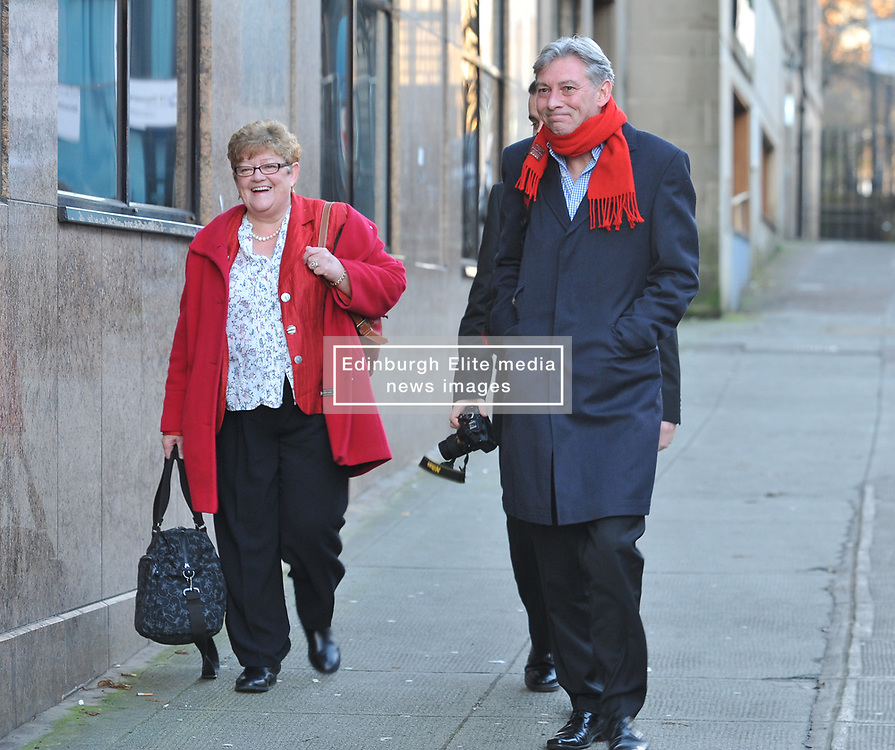 New Scottish Labour leader Richard Leonard arrives for the Labour NEC meeting in Glasgow with former MSP and NEC member Cathy Peattie.<br /> <br /> © Dave Johnston/ EEm