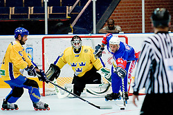 Jan Loboda, 86, of Slovenia reaching for the puck at Game 8 of IIHF In-Line Hockey World Championships Top Division Group match between National teams of Sweden and Slovenia on June 29, 2010, in Karlstad, Sweden. (Photo by Matic Klansek Velej / Sportida)