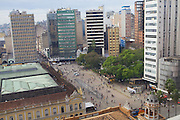 An aerial view of the square outside the front of Porte Alegre's City Hall, Brazil