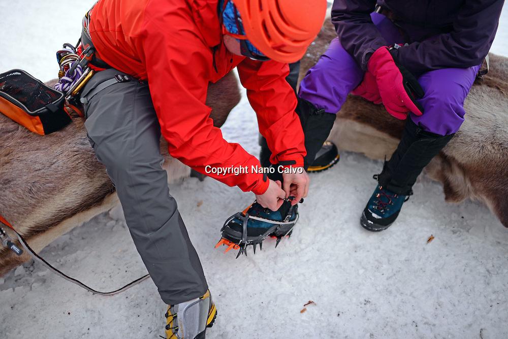 Ice Climbing in Pyhä, Lapland, Finland
