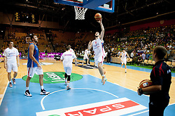 Stefan Markovic of Serbia at warming up during friendly match between National teams of Slovenia and Serbia for Eurobasket 2013 on August 3, 2013 in Arena Zlatorog, Celje, Slovenia. (Photo by Vid Ponikvar / Sportida.com)