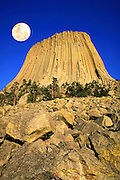 Full moon over Devils Tower, Devils Tower National Monument, Wyoming