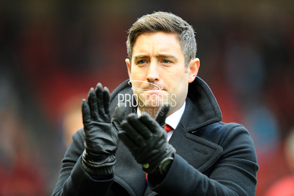 Bristol City manager Lee Johnson applauds the fans before the The FA Cup match between Bristol City and Fleetwood Town at Ashton Gate, Bristol, England on 7 January 2017. Photo by Graham Hunt.