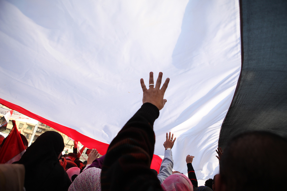 Protesters calling for the ouster of President Hosni Mubarak carry a large Egyptian flag at Tahrir Square on 8 February.