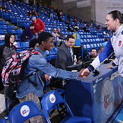 NBA Official Lauren Holtkamp (11) RIGHT, shakes hands a fan prior a NBA D-league regular season basketball game between the Delaware 87ers and the Erie BayHawk (Orlando Magic) Friday, Mar. 27, 2015 at The Bob Carpenter Sports Convocation Center in Newark, DEL.