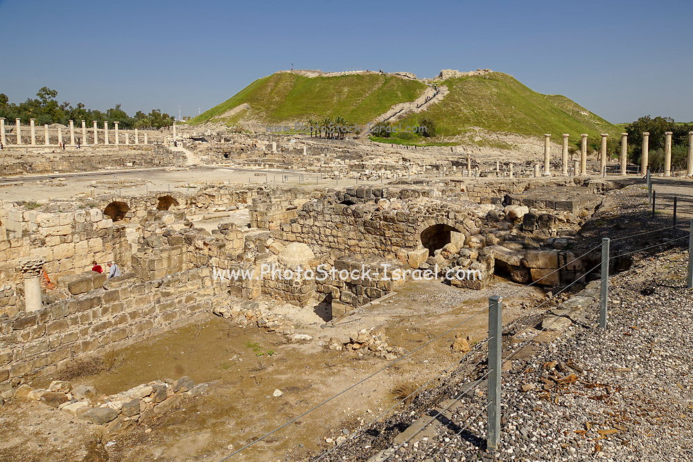 """Israel, Bet Shean General view. During the Hellenistic period Bet Shean had a Greek population and was called Scythopolis. In 64 BCE it was taken by the Romans, rebuilt, and made the capital of the Decapolis, the """"Ten Cities"""" of Samaria."""