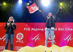10.02.2017, St. Moritz, SUI, FIS Weltmeisterschaften Ski Alpin, St. Moritz 2017, alpine Kombination, Damen, Siegerehrung, im Bild v.l. Michelle Gisin (SUI, Silbermedaille Alpine Kombination der Damen), Wendy Holdener (SUI, Weltmeister und Goldmedaille Alpine Kombination der Damen) // f.l. ladie's Alpin Combined Silver medalist Michelle Gisin of Switzerland, ladie's Alpin Combined Goldmedalist and World Champion Wendy Holdener of Switzerland during the winnerceremony for the ladie's Alpine combination of the FIS Ski World Championships 2017. St. Moritz, Switzerland on 2017/02/10. EXPA Pictures © 2017, PhotoCredit: EXPA/ SM<br /> <br /> *****ATTENTION - OUT of GER*****