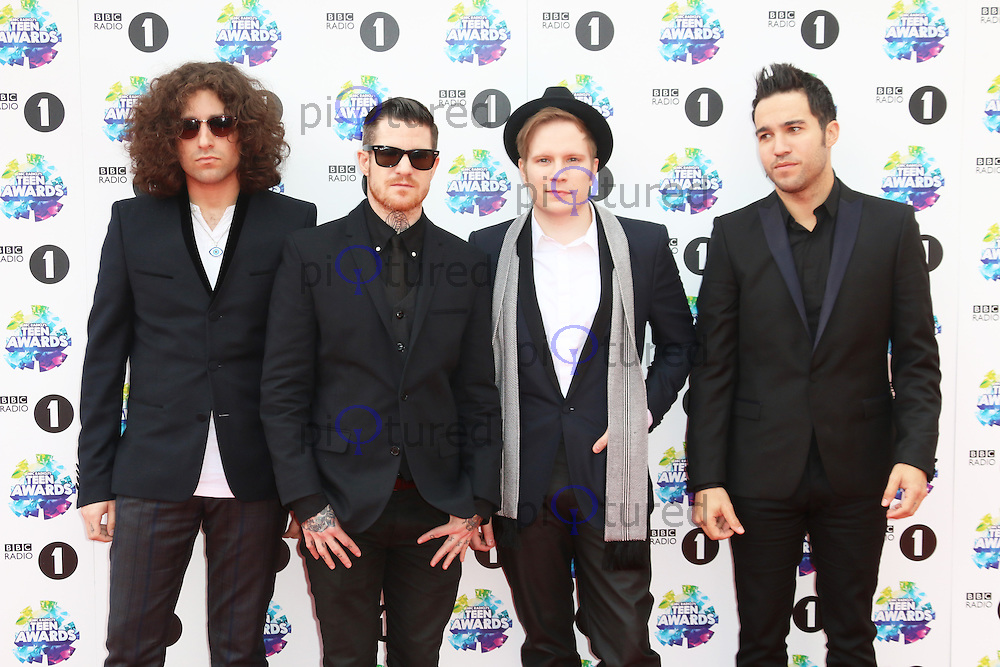 Joe Trohman; Andy Hurley; Patrick Stump; Pete Wentz; Fall Out Boy, BBC Radio 1 Teen Awards, Wembley Arena, London UK, 03 November 2013, Photo by Richard Goldschmidt