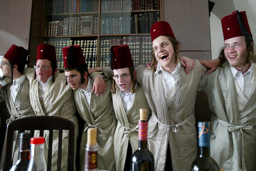 An Ultra-Orthodox Jewish man celebrates the Jewish holiday of Purim in a synagogue in the Mea Shearim neighbourhood of Jerusalem March 23, 2008. Purim is a celebration of the Jews' salvation from genocide in ancient Persia, as recounted in the Book of Esther...Photo by Olivier Fitoussi /FLASH90 *** Local Caption *** éøåùìéí..îàä ùòøéí ..çøã çøãéí..úçôåùú..ôåøéí..